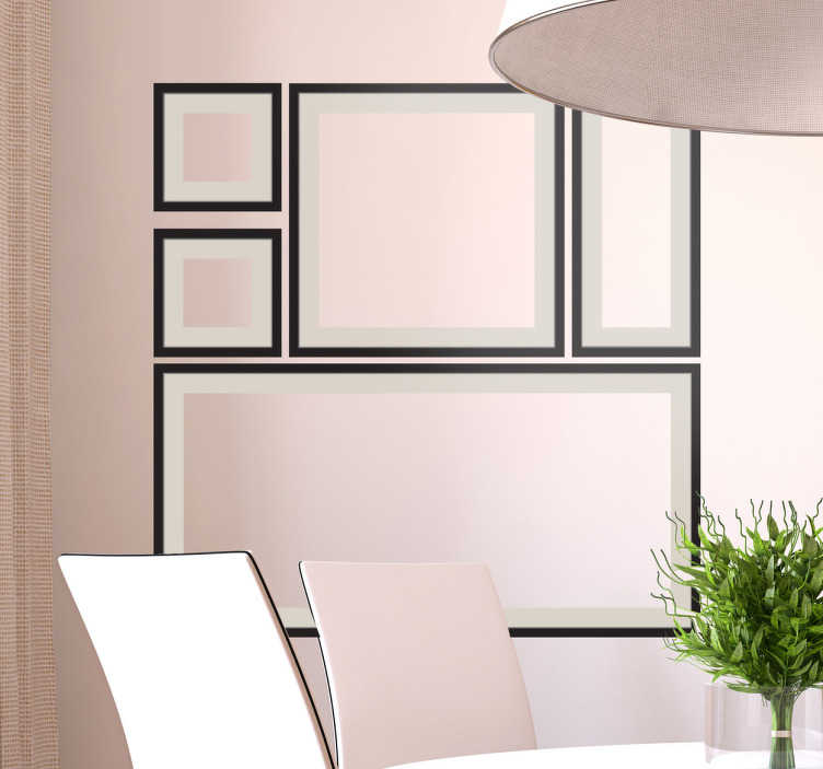 TenVinilo. Vinilo decorativo composición marcos. Composición de varios marcos decorativos con marco negro y paspartú para decorar tu hogar de forma diferente y original.