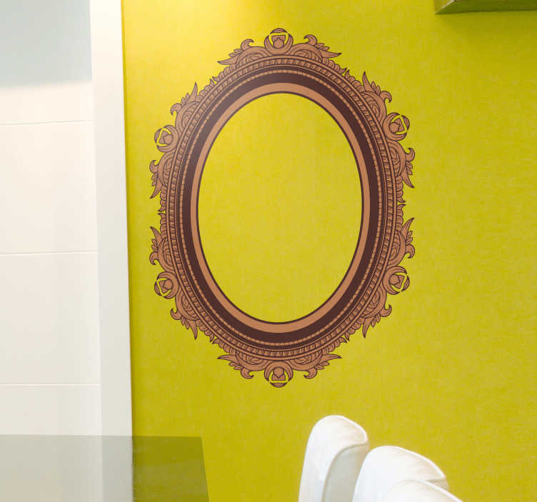 TenStickers. Detailed Frame Sticker. Exclusive design of a decorative elliptical frame that simulates a carved wooden pattern with floral shapes.