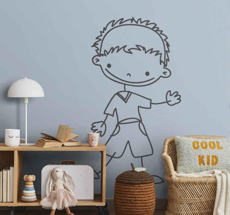 TenStickers. Sticker kinderkamer wuivende jongen. Muursticker met een tekening van een vrolijke jongen dat jouw richting uit wuift. Mooie wanddecoratie voor de babykamer.