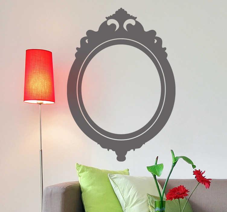 TenStickers. декоративная винтажная наклейка наклейки на зеркало. декоративная наклейка на стену из зеркальной рамы, чтобы украсить ваш дом и придать ему классический вид. зеркальная надпись - элегантный дизайн с цветочным узором наверху.