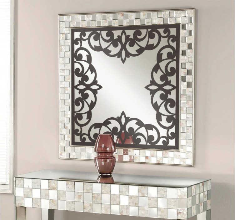 TenStickers. Sticker ouderwets bloemen frame. Deze muursticker omtrent een sierlijke en decoratief frame. Prachtig en exclusief ontwerp ter wanddecoratie van uw woning.