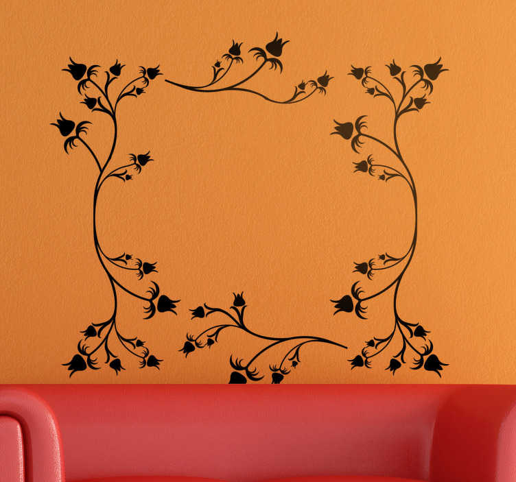 TenStickers. Floral Rose Frame Wall Sticker. Wall Stickers- Abstract decorative frame of roses. Decorate your home with a touch of colour. Available in various sizes and in 50 colours.
