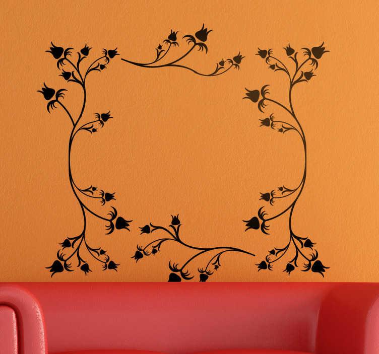 TenStickers. Naklejka z rysunkiem kwiatowa rama. Naklejka na ścianę kwiaty do salonu przedstawia ramę zbudowaną z delikatnych kwiatów. Naklejka na każdą gładką powierzchnię!