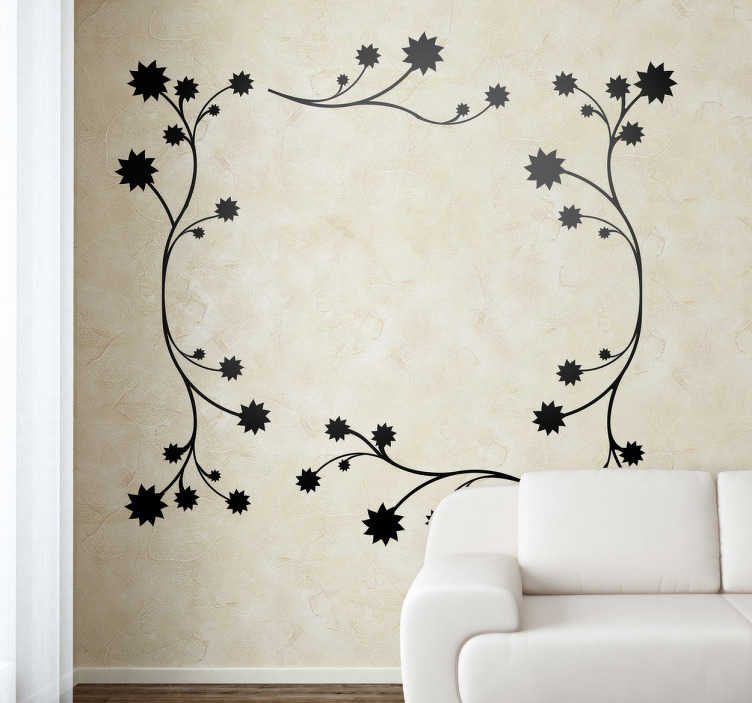TenStickers. Floral Frame Wall Sticker. An elegant decal of a mono-colour floral pattern made up of flowers and branches, that forms a beautiful frame shape.