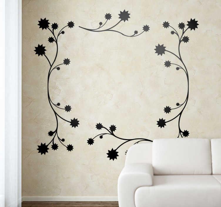 TenStickers. 꽃 프레임 벽 스티커. 아름다운 프레임 모양을 형성하는 꽃과 가지로 구성된 단색 꽃 패턴의 우아한 데칼.