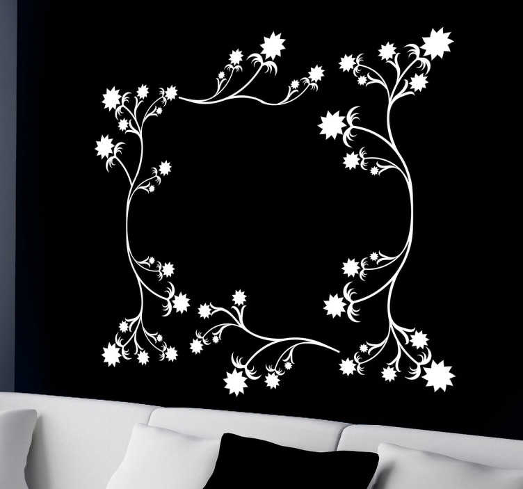 TenStickers. Muursticker frame bloemen. Deze muursticker omtrent een decoratief ontwerp van een frame ontworpen voor muren. Vrolijke muurdecoratie voor uw woning.