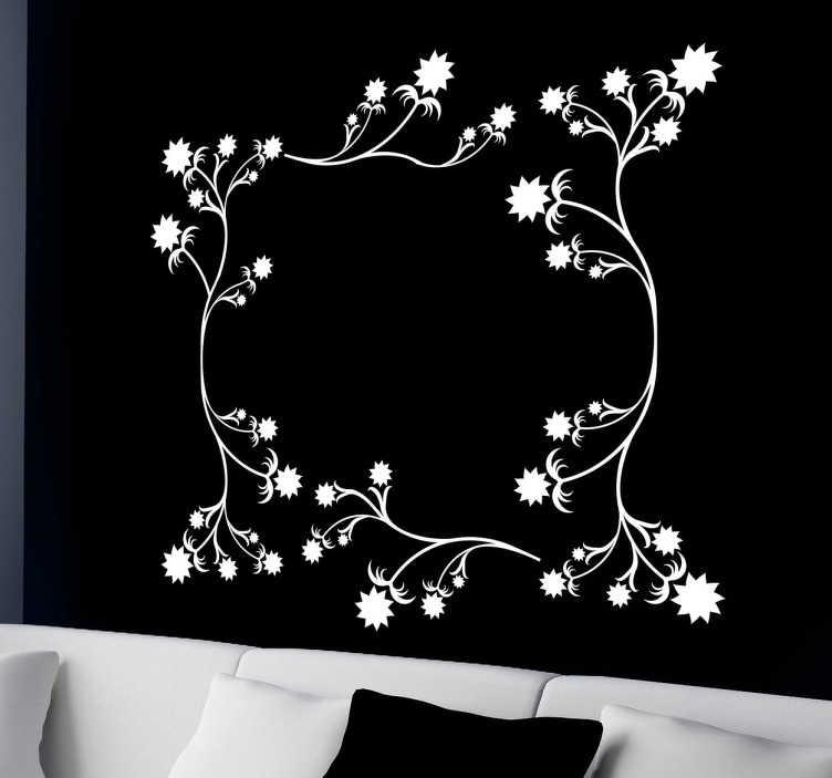 flower floral frame wall sticker - tenstickers