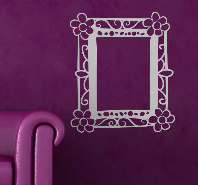 TenStickers. Drawn Flower Frame Wall Sticker. Wall Stickers- Fun and playful frame feature. Decorate your home with a touch of colour. Available in various sizes and in 50 colours.
