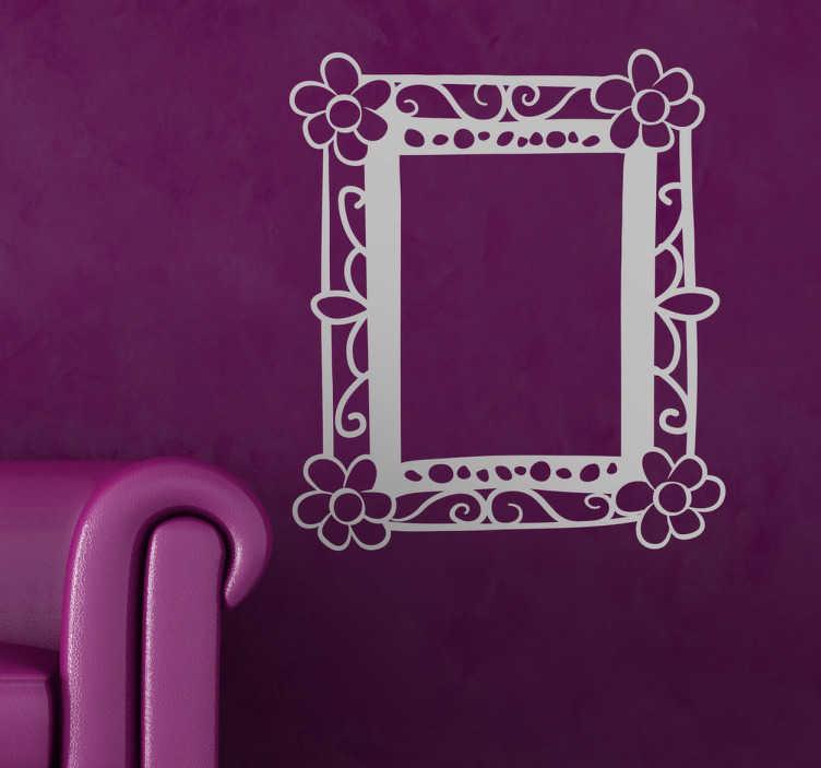 TenStickers. Floraler Rahmen Aufkleber. Dekorieren Sie Ihre Wand mit diesem besonderen einfarbigen Wandtattoo Rahmen im Blumen Design. Diesen Rahmen können Sie sehr gut als Fotorahmen nutzen