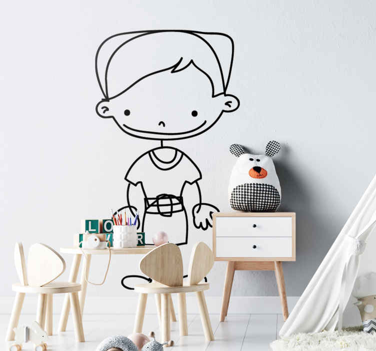 TenStickers. Boy Wearing Belt Sticker. A very friendly sticker of a boy smiling and wearing a belt. Superb decal to decorate your child´s room and make it look more like it should!