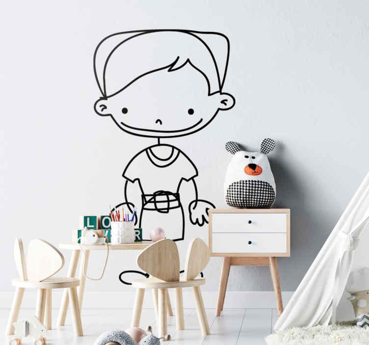 TenStickers. Sticker enfant garçonnet sourire. Autocollant original pour enfant illustrant un petit garçon nous offrant son plus joli sourire.Super idée déco pour la chambre d'enfant et autres espaces de jeu.