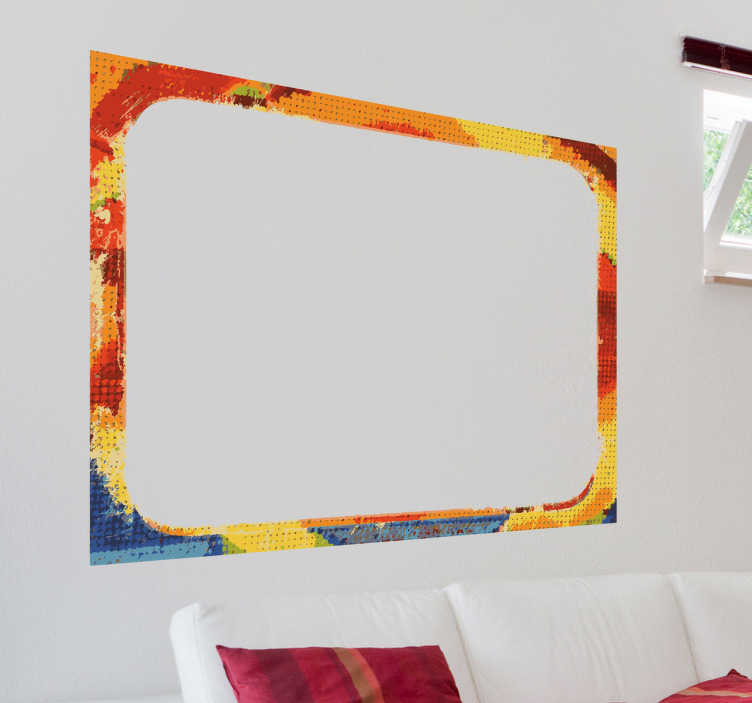 TenStickers. Naklejka kolorowa ramka. Naklejka na ścianę przedstawiająca dużą prostokątną ramę z mozaiką kolorów: pomarańczowy, czerwony, żółty i niebieski.