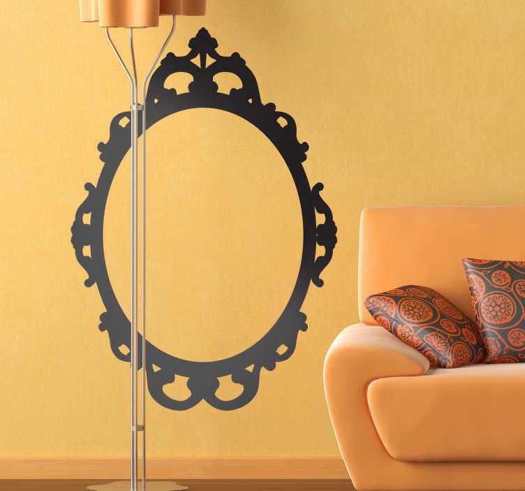 TenStickers. Naklejka rama lustra. Naklejka przedstawiająca jednokolorową ramę lustra w stylu vintage.