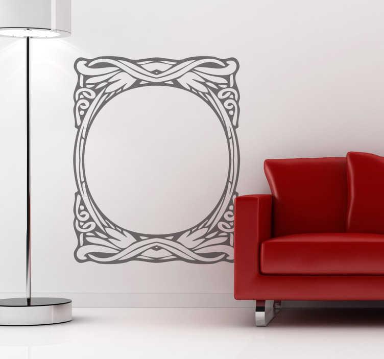 TenVinilo. Vinilo marco circular modernista. Marco decorativo modernista con forma circular para enmarcar y formas orgánicas al igual que elegantes para adaptarse a cualquier hogar.