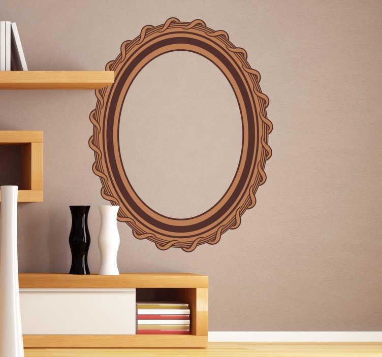 Tenstickers. Vertikal cadre ovala vardagsrumsinredning. Oval formad ram klistermärke i bruna toner för att hänga dina foton och bilder. Dekorera ditt vardagsrum som du vill ha. Snabb leverans.