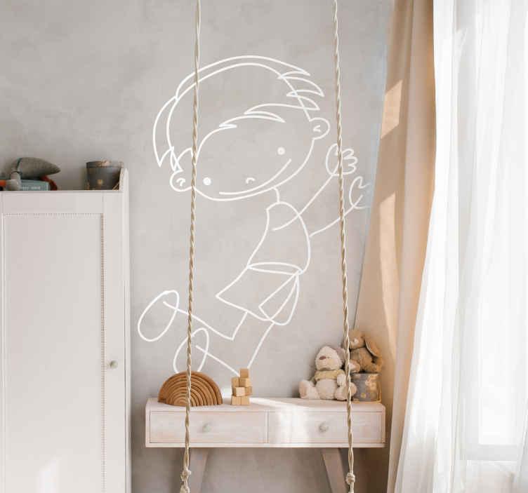 TenStickers. Sticker enfant garçonnet sautant. Autocollant original pour enfant illustrant un petit garçon sautant tout en nous offrant son plus joli sourire.Super idée déco pour la chambre d'enfant et autres espaces de jeu.