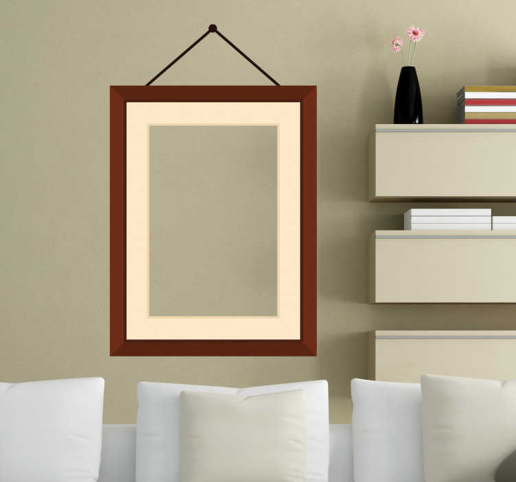 TenStickers. Hanging Photo Frame Sticker. Exclusive and original design of a decorative matte wooden frame that appears as though it is nailed to the wall and hanging by two wires.