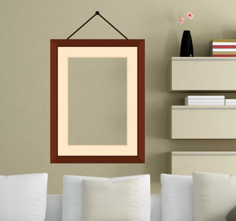 TenStickers. Naklejka wisząca ramka na zdjęcia. Ekskluzywny i oryginalny wzór naklejki dekoracyjnej przedstawiający drewnianą matową ramę przybitą do ściany.