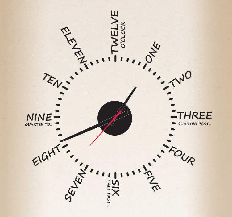 TenStickers. Sticker heure texte. Sticker horloge original avec les heures écrites en anglais. Comprend horloge 23 cm de diamètre et mécanisme 8,5 cm de diamètre.Aiguille heures : 9,3 cm / Aiguille minutes : 13,2 cm / Aiguilles secondes : 9 cm