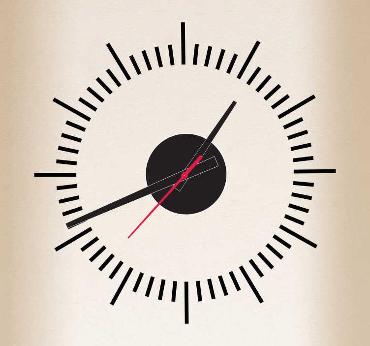 TenVinilo. Vinilo decorativo líneas reloj. Sencilla versión de adhesivo reloj para pared con los minutos y las horas remarcados.Incluye reloj de Ø23 cm (Diámetro), cuerpo del mecanismo de Ø 8,5 cm (Diámetro)Aguja Horaria: 9,3 cm / Aguja Minutero: 13,2 cm / Aguja Segundera: 9 cm