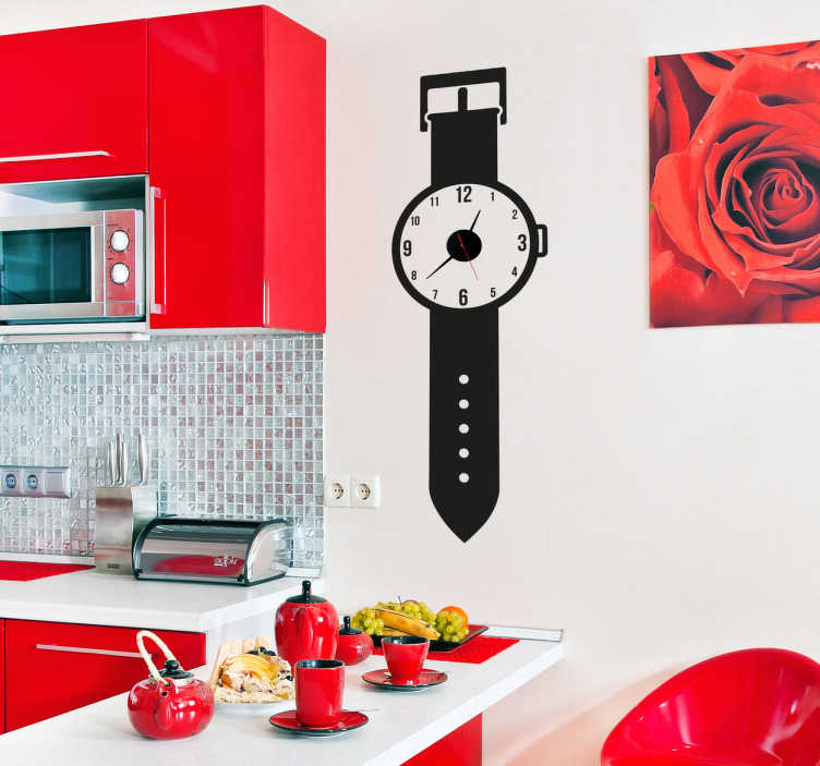 TenStickers. Wristwatch Clock Sticker. An original clock decal illustrating a wristwatch for the walls of your home. Monochrome wall sticker suitable for your kitchen!