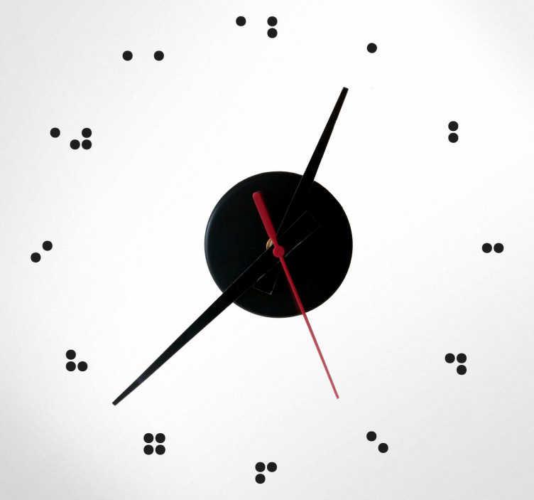 TenVinilo. Vinilo decorativo reloj en braille. Original vinilo reloj decorativo en la que los números aparecen en la típica escritura para personas ciegas.
