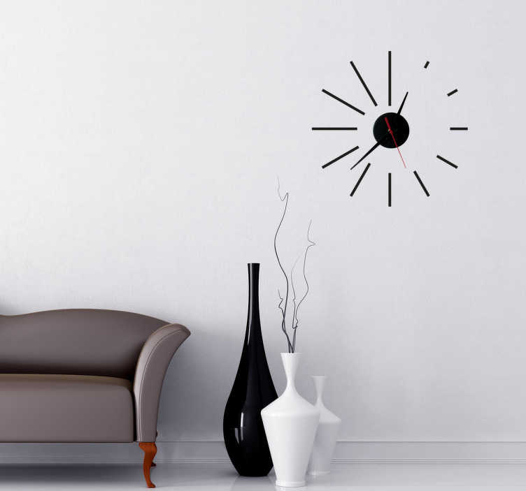 TenStickers. Sticker horloge spirale. Sticker horloge moderne avec les numéros en lignes de différentes dimensions.Comprend horloge 23 cm de diamètre et mécanisme 8,5 cm de diamètre. Aiguille heures : 9,3 cm / Aiguille minutes : 13,2 cm / Aiguille secondes : 9 cm