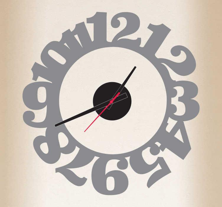 TenStickers. Sticker horloge chiffres accolés. Sticker horloge avec les heures les unes sur les autres.  Comprend horloge 23 cm de diamètre et mécanisme 8,5 cm de diamètre.  Aiguille heures : 9,3 cm / Aiguille minutes : 13,2 cm / Aiguille secondes : 9 cm