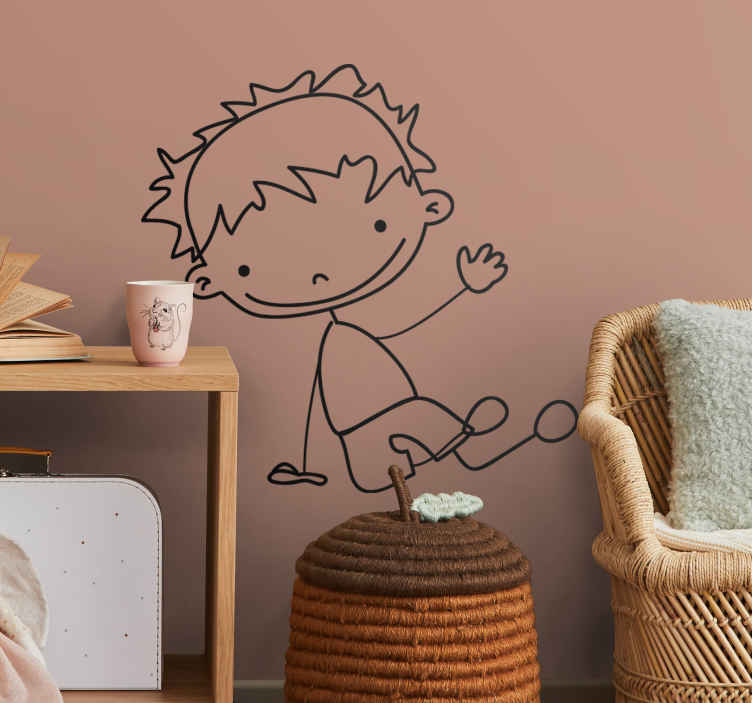 TenStickers. Sticker kinderkamer jongen zit en wuift. Een simpele maar leuke muursticker van een jongen dat al zittend op zijn rechter hand steunt en al wuivend zijn hand op steekt.