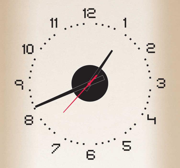 TenStickers. Sticker horloge pixels. Sticker horloge moderne façon pixels pour que les nouvelles technologies vous accompagnent partout. Comprend horloge 23 cm de diamètre et mécanisme 8,5 cm de diamètre.  Aiguille heures : 9,3 cm / Aiguille minutes : 13,2 cm / Aiguille secondes : 9 cm
