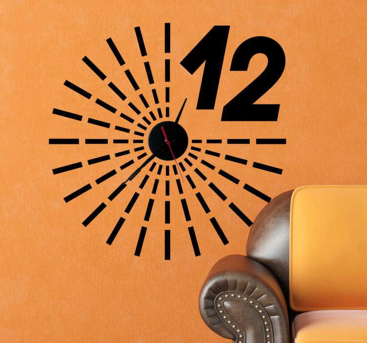 TenStickers. Sticker muur klok decoratie. Een leuke muursticker dat samen met het mechanisme dient als een klok. Op de wandsticker kan je de uren aan de hand van streepjes aflezen.