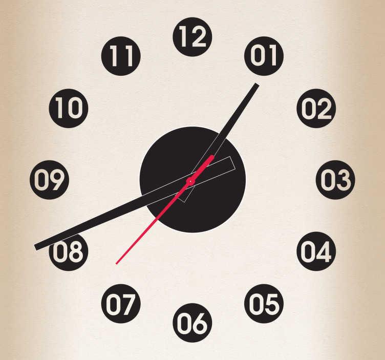 TenVinilo. Vinilo decorativo reloj puntos. Sencillo y práctico adhesivo para reloj de pared con las horas sobre círculos.Incluye reloj de Ø23 cm (Diámetro), cuerpo del mecanismo de Ø8,5 cm (Diámetro)Aguja Horaria: 9,3 cm / Aguja Minutero: 13,2 cm / Aguja Segundera: 9 cm