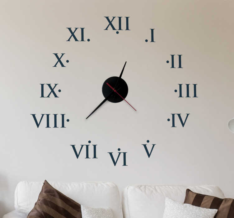 TenStickers. Roman Clock Sticker. Wall Clock - Classic ancient roman numerals clock design.Includes mechanism.