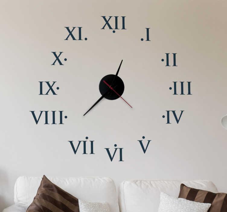 TenVinilo. Vinilo decorativo reloj romanos. Vinilo reloj donde las horas se han traducido por la numeración romana, para darle un toque intemporal y clásico al espacio donde desees colocarlo.