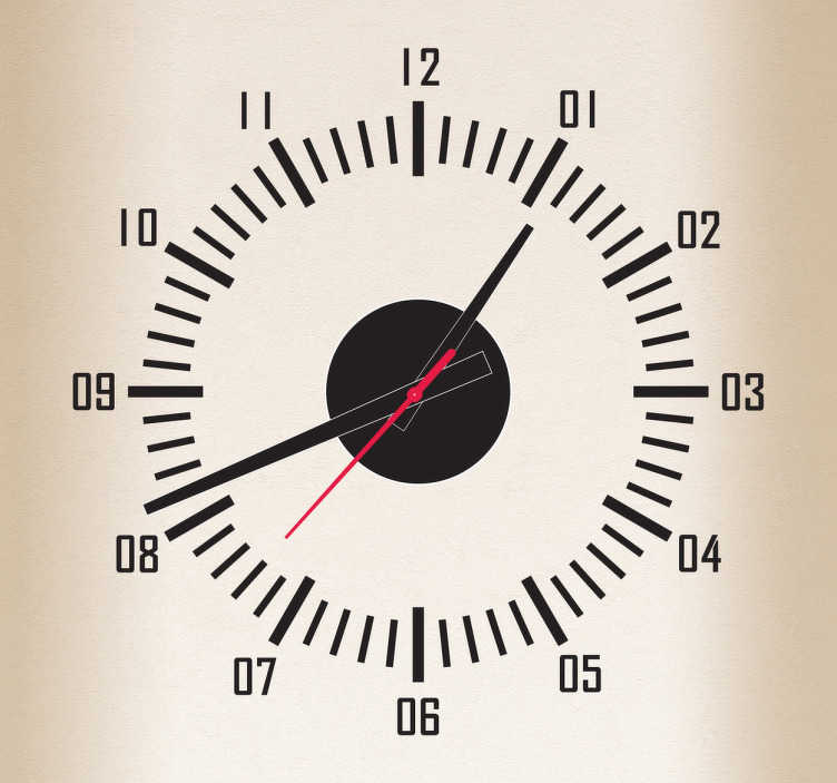 TenStickers. Seconds Dashboard Style Clock Sticker. Wall Clock - Dashboard gage style clock. Ideal for decorating your home.