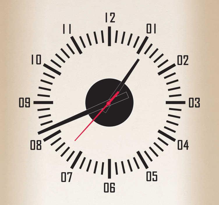 TenStickers. Sticker horloge trotteuse. Contrôlez le temps et restez ponctuels grâce à ce sticker horloge. Comprend horloge 23 cm de diamètre et mécanisme 8,5 cm de diamètre.  Aiguille heures : 9,3 cm / Aiguille minutes : 13,2 cm / Aiguille secondes : 9 cm