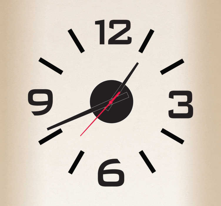TenStickers. Wandtattoo Uhr schlichtes Design. Mit dieser einfarbigen Wandtattoo Uhr können Sie Ihren Raum dekorieren und gleichzeitig immer die Uhrzeit im Auge behalten. Mehr als 50 Farben