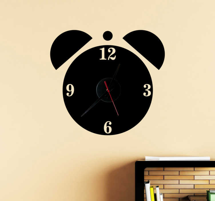 TenStickers. Classic Alarm Clock Sticker. Wall Clock - Monochrome vector design. Simple and distinctive, ideal for decorating your home.