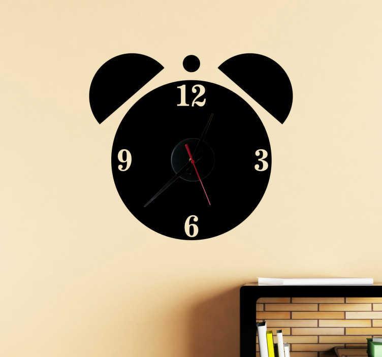 TenStickers. Naklejka zegar budzik. Oryginalna naklejka dekoracyjna z wbudowanym zegarem, która przedstawia charakterystyczny budzik.  Naklejka zawiera mechanizm zegara o średnicy Ø23 cm, średnica mechanizmu zegara Ø8,5cm  Długość wskazówki godzinowej: 9,3cm Długość wskazówki minutowej: 13,2cm Długość wskazówki sekundowej: 9cm