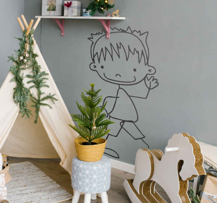 TenStickers. Boy Waving Decorative Sticker. A very friendly sticker of a boy smiling and waving. Superb decal to decorate your child´s room and make it look more like it should!