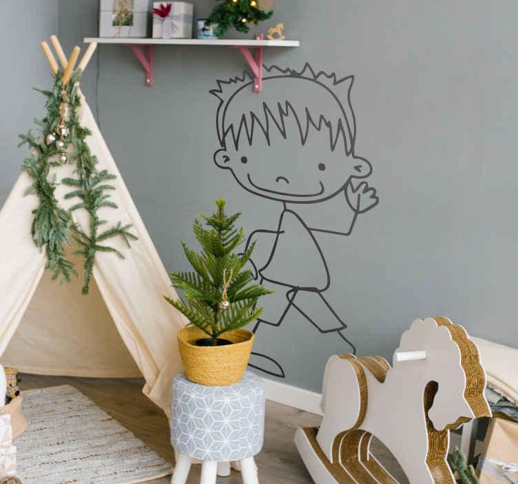 TenStickers. Naklejka dekoracyjna chłopiec 60. Naklejka dekoracyjna przedstawiająca chłopczyka w krótkich spodenkach. Ciekawy sposób na udekorowanie pokoju dziecięcego.