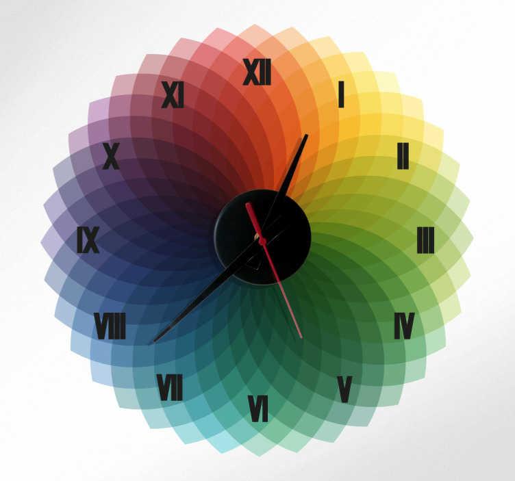 TenStickers. Sticker horloge cercle chromatique. Habillez votre mur de ce sticker coloré, original et design.  Comprend horloge 23 cm de diamètre et mécanisme 8,5 cm de diamètre.  Aiguille heures : 9,3 cm / Aiguille minutes : 13,2 cm / Aiguille secondes : 9 cm