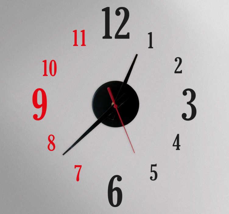 TenStickers. Zweifarbige Uhr Aufkleber. Elegante Wandtattoo Uhr für Ihr Zuhause. Wählen Sie Ihre Lieblingsfarben aus.