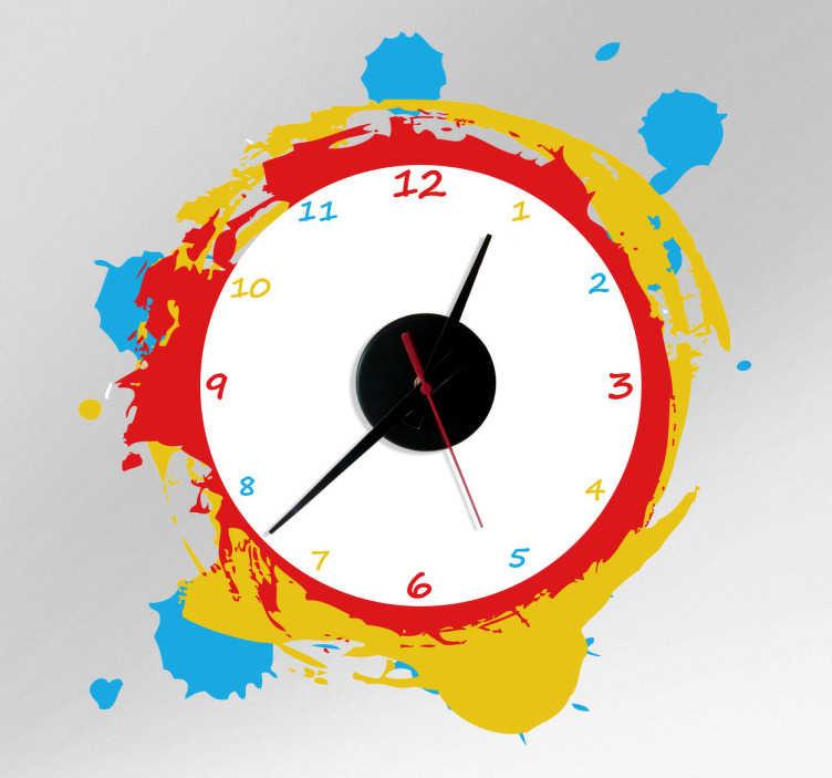 Farbkleckse Uhr Aufkleber