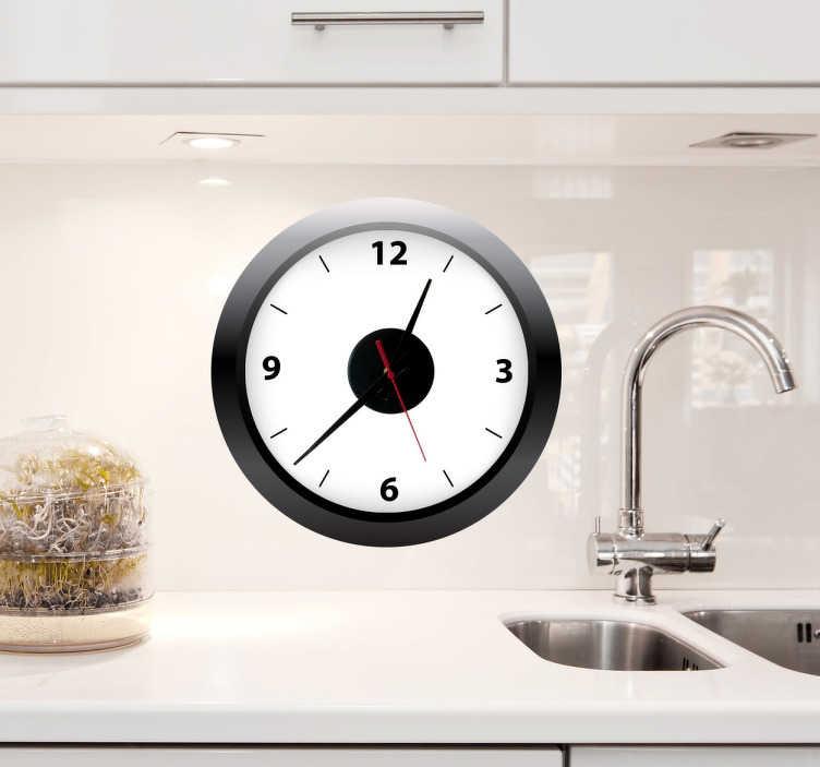 TenStickers. Sticker klok zwarte rand. Een muursticker van een klok voor de decoratie van uw keuken, eetkamer of woonkamer! Een prachtige kloksticker van een witte klok met een zwarte rand.