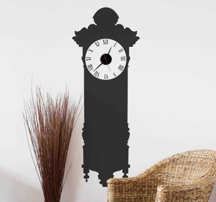 TenStickers. Sticker horloge mur. Donnez une touche vintage à votre intérieur en habillant votre mur de ce sticker horloge pendule.  Comprend horloge 23 cm de diamètre et mécanisme 8,5 cm de diamètre.  Aiguille heures : 9,3 cm / Aiguille minutes : 13,2 cm / Aiguille secondes : 9 cm