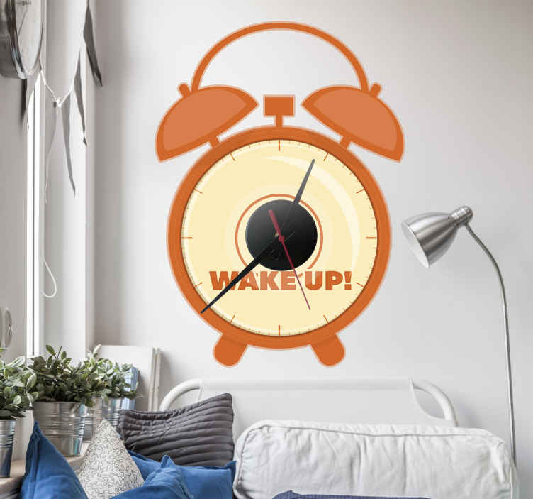 TenStickers. Alarm Clock Sticker. Wall Clock - Alarm clock illustration design. Simple and distinctive, ideal for decorating your home.