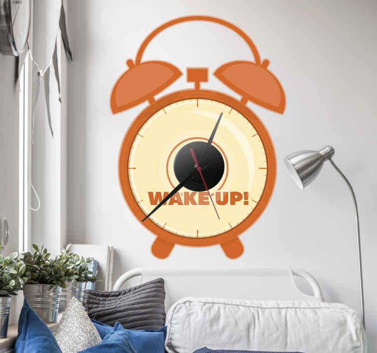 TenStickers. Naklejka dekoracyjna okrągły budzik. Oryginalna naklejka dekoracyjna na ścianę z wbudowanym zegarem, która przedstawia klasyczny budzik. Ceny już od 8,75 zł!