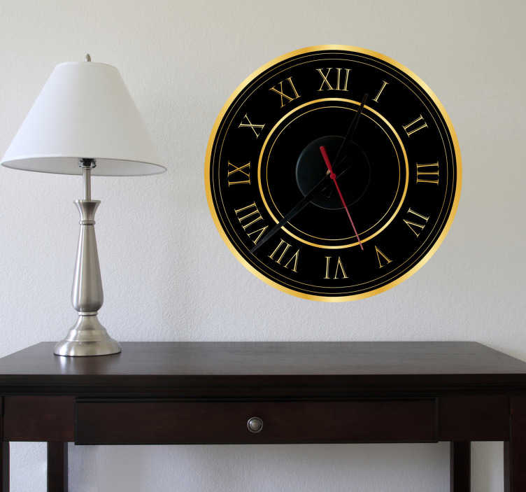 TenStickers. Gold Roman Numerals Clock Sticker. Wall Clock - Elegant and luxury design. Simple and distinctive, ideal for decorating your home. Perfect for any room in your own home.