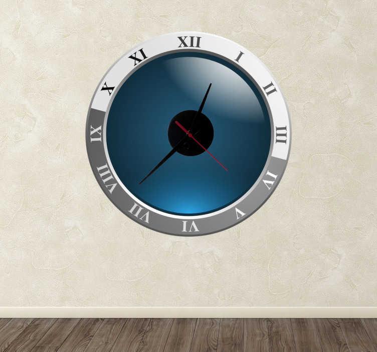 TenStickers. Naklejka zegar rzymskie cyfry. Naklejka dekoracyjna z wbudowanym zegarem. Obrazek łączy w sobie nowoczesny wygląd i rzymskie, klasyczne cyfry.